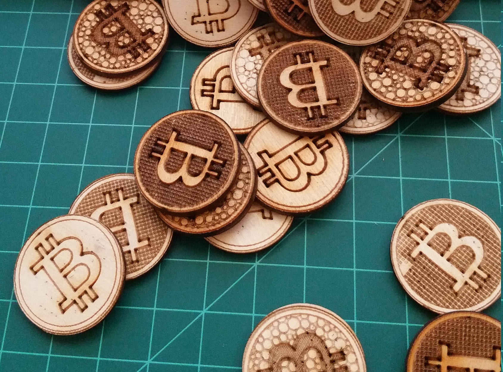 wooden bitcoins